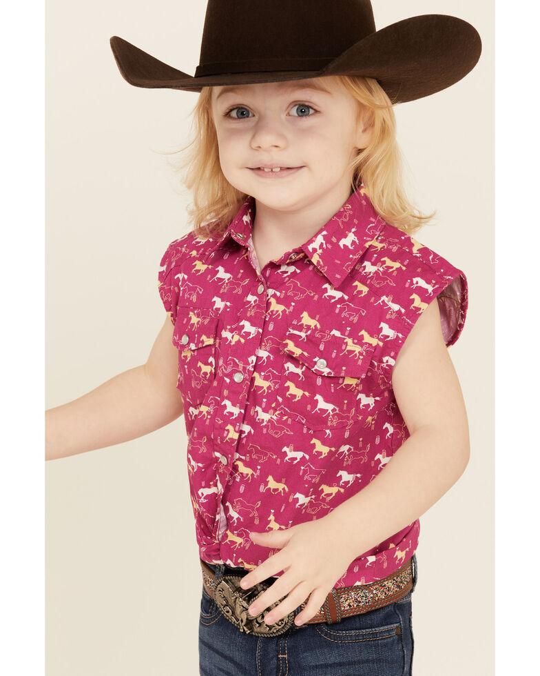Shyanne Toddler Girls' Fuchisa Horse Print Tie-Front Sleeveless Western Shirt , Fuscia, hi-res