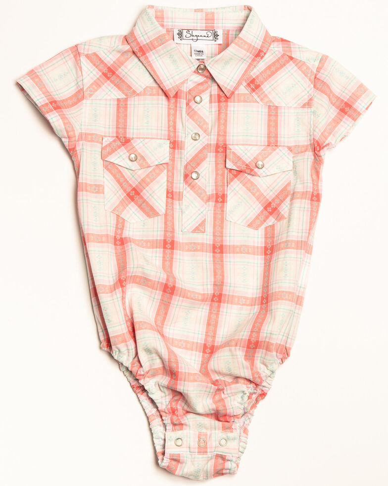 Shyanne Infant Girls' Plaid Woven Short Sleeve Onesie, Ivory, hi-res