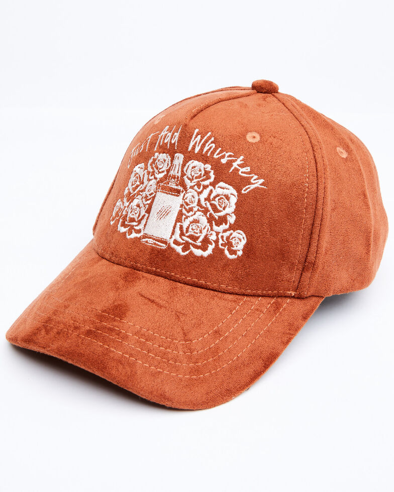Shyanne Women's Just Add Whiskey Faux Suede Ball Cap, Rust Copper, hi-res