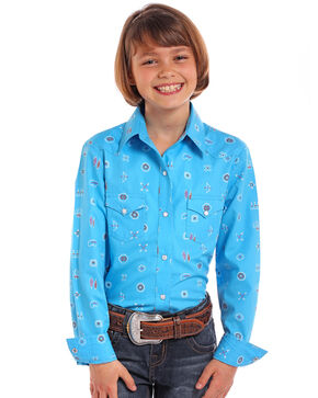 Panhandle Girls' Blue Native Print Long Sleeve Western Shirt , Blue, hi-res