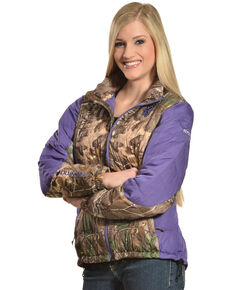 Browning Women's Hell's Belles Plum and Camo Blended Down Jacket, Camouflage, hi-res