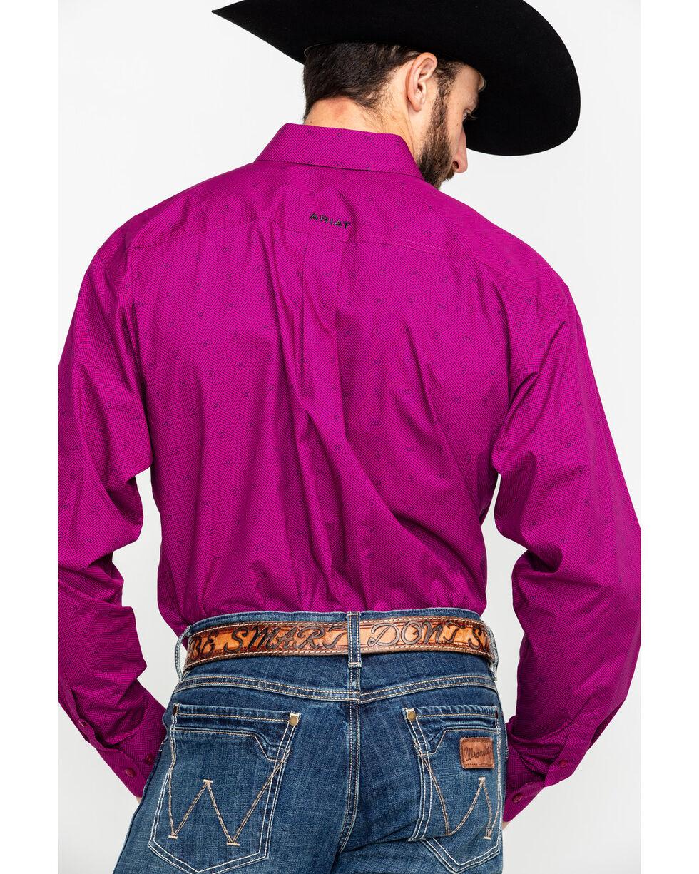 Ariat Men's Fedderson Geo Print Long Sleeve Western Shirt , Wine, hi-res