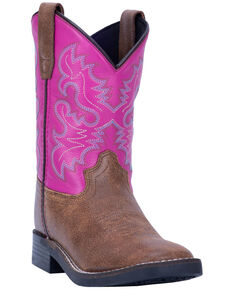 Dan Post Girls' Punky Western Boots - Wide Square Toe, Tan, hi-res