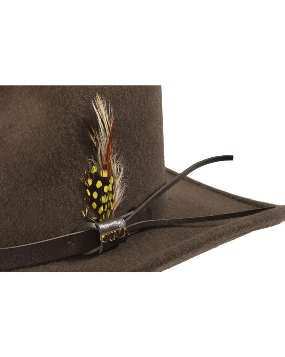 Scala Crushable Pinchfront Wool Outback Hat, Khaki, hi-res