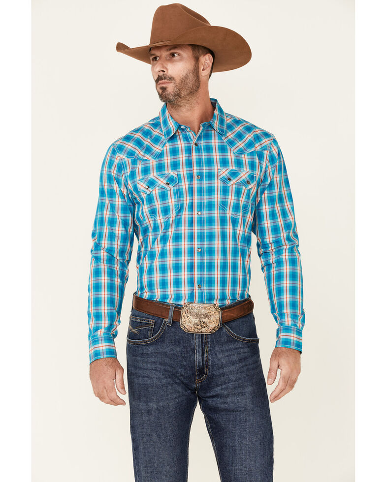 Cody James Men's Briar Patch Plaid Long Sleeve Snap Western Shirt , Teal, hi-res