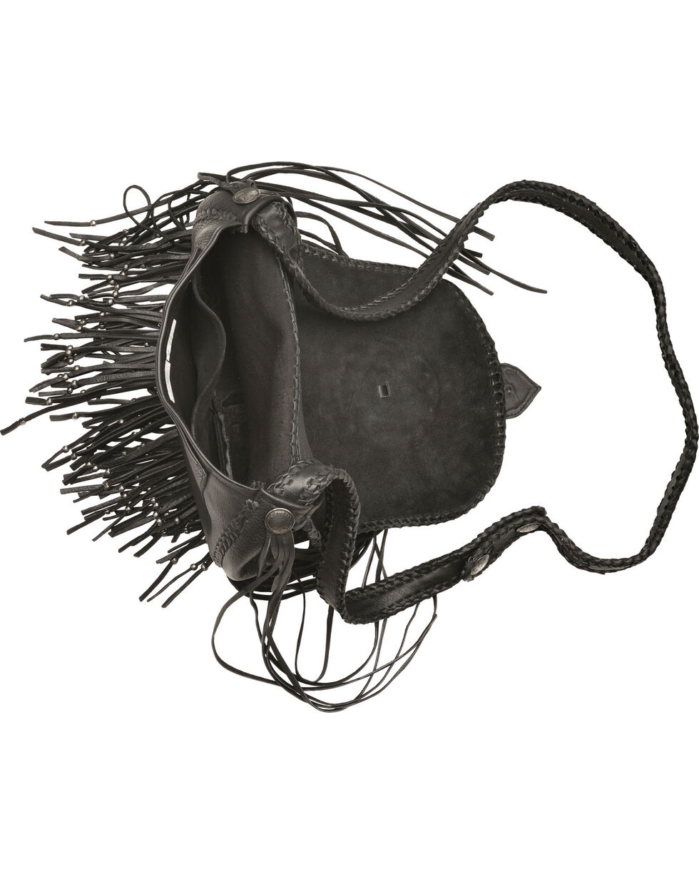 Kobler Leather Concho and Flutted Beads Bag, Black, hi-res