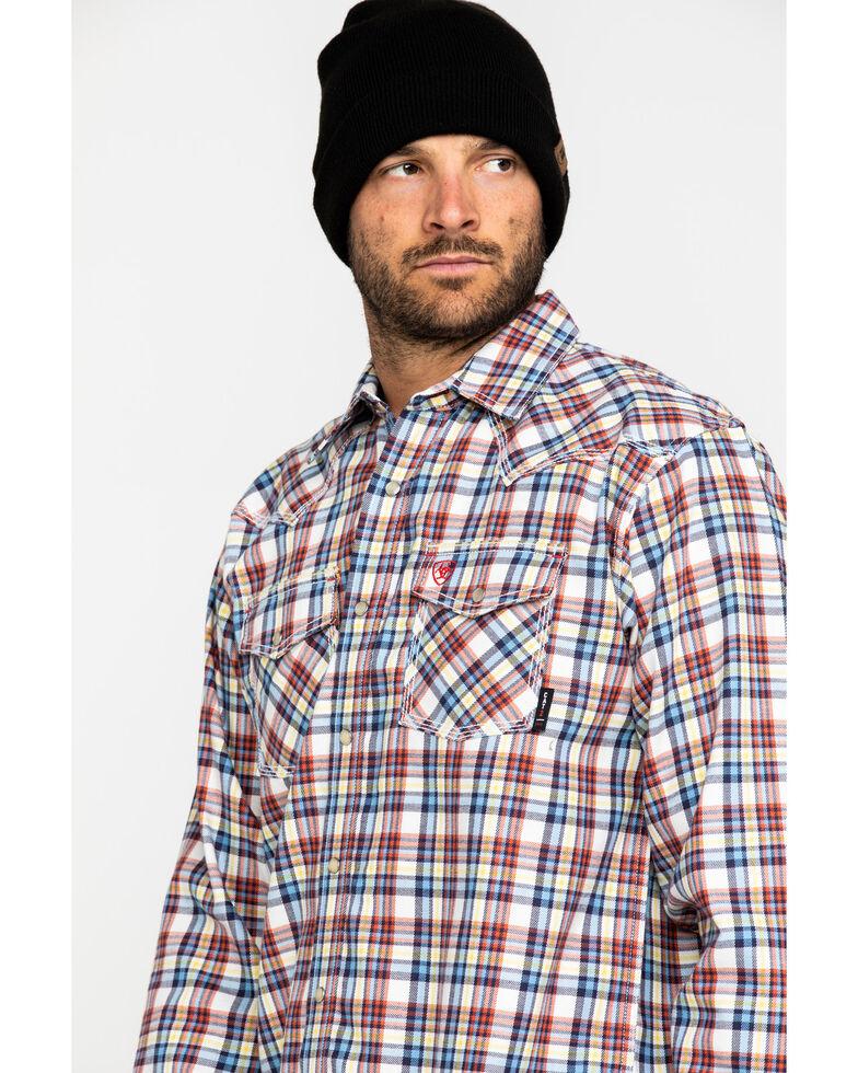 Ariat Men's FR Granite Retro Plaid Long Sleeve Work Shirt , Navy, hi-res