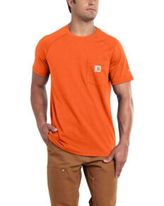 Carhartt Force Men's Orange Delmont Short Sleeve Work T-Shirt , Orange, hi-res