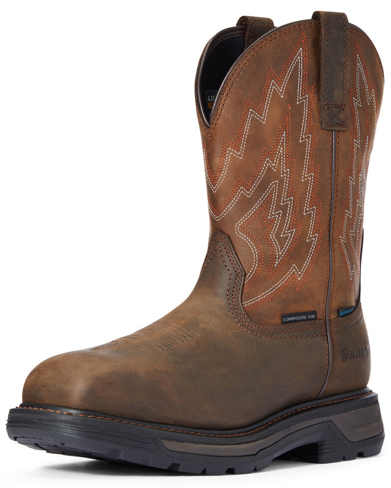 Ariat Men's Waterproof Big Rig Western Work Boots - Composite Toe, Brown, hi-res