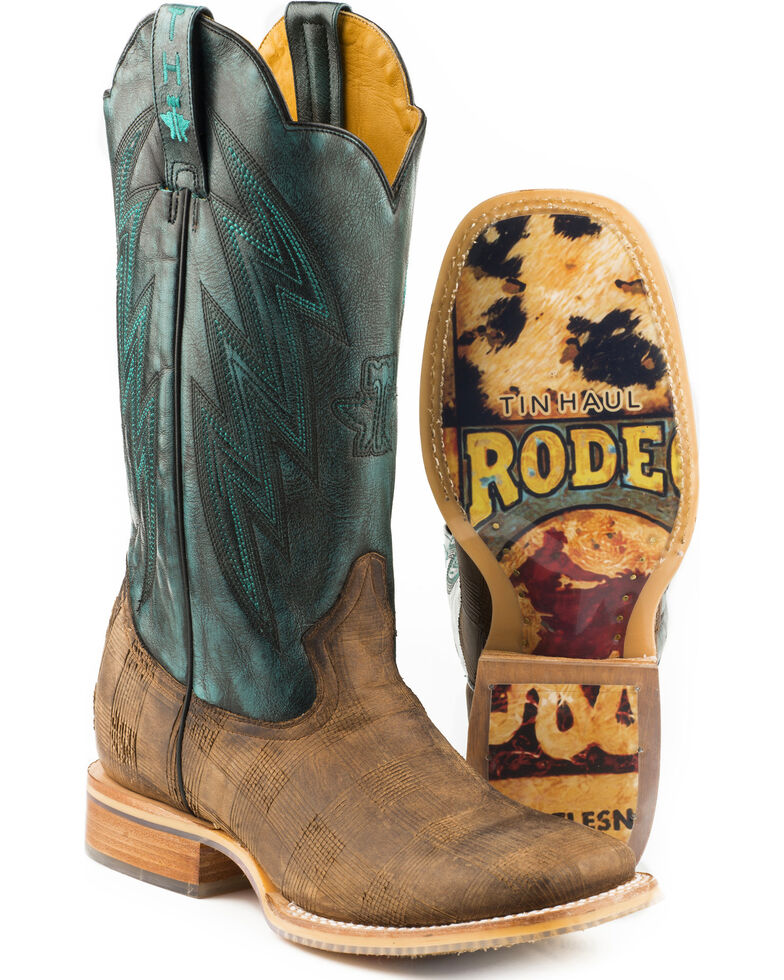 Tin Haul Men's Lock N Bolt Rodeo Sole Cowboy Boots - Square Toe, Brown, hi-res