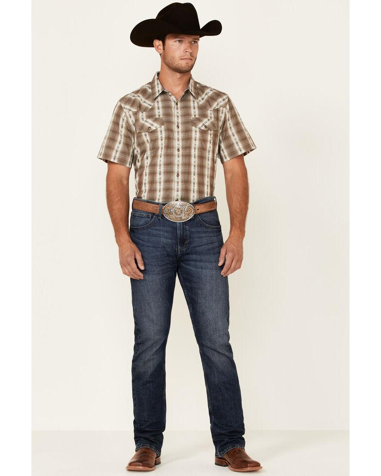 Cody James Men's Lanyard Dobby Plaid Short Sleeve Snap Western Shirt, Olive, hi-res