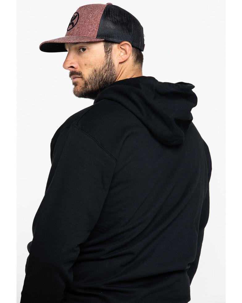 Wrangler Men's Black Distressed Logo Western Hooded Sweatshirt , Black, hi-res
