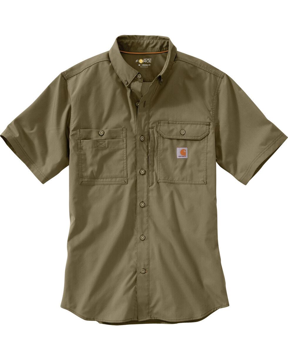 Carhartt Men's Double Pocket Short Sleeve Work Shirt, Olive, hi-res