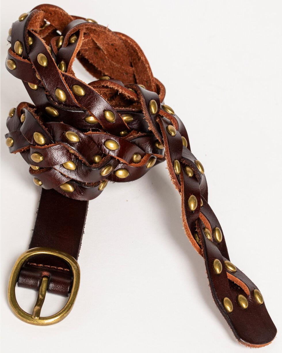 Shyanne Women's Skinny Braided Belt, Brown, hi-res
