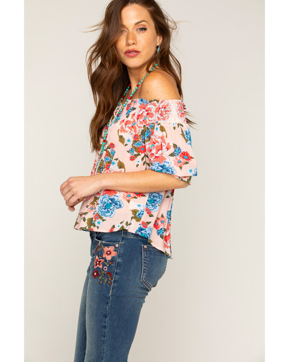 Shyanne Floral Off-the-Shoulder Top, Pink, hi-res