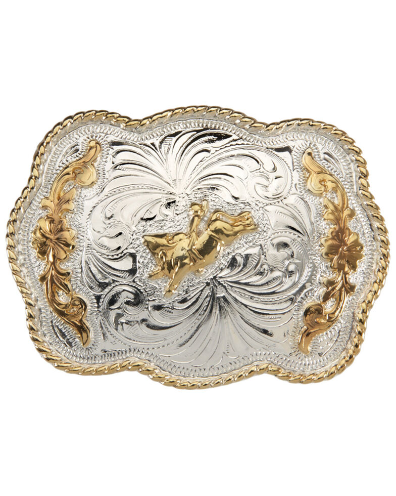 And West Girls' Scallop With Bull Rider Buckle, Gold, hi-res