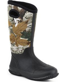 Roper Women's Camo Neoprene Barnyard Work Boots, Black, hi-res
