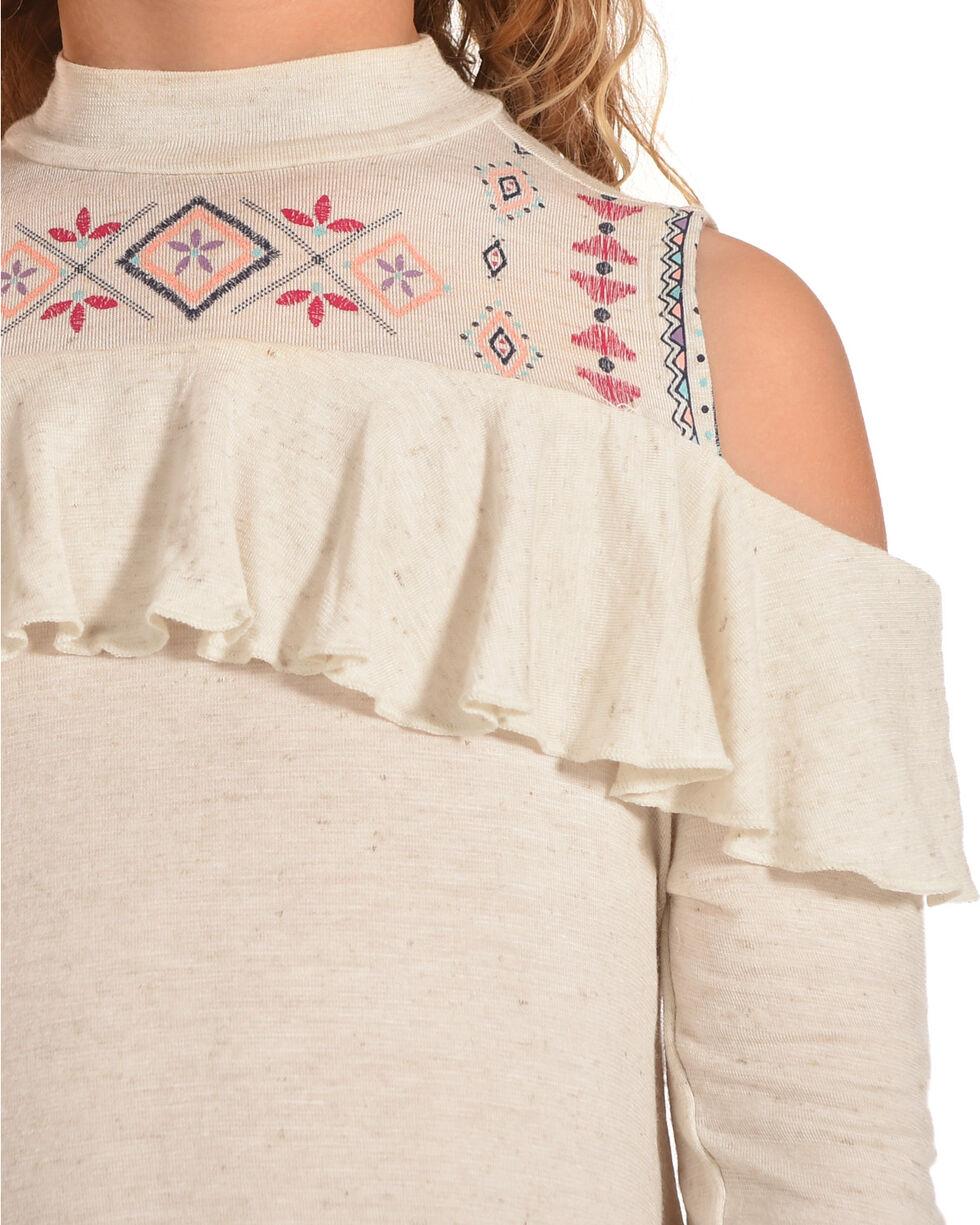 Self Esteem Girls' Cold Shoulder Top, Necklace & Leggings Set , Grey, hi-res