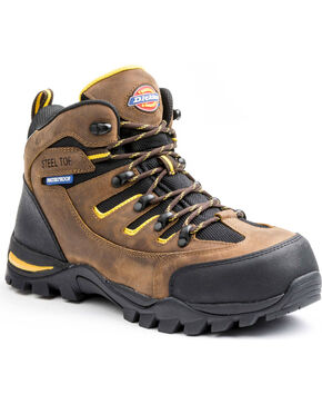 Dickies Men's Sierra HIking Work Boots - Steel Toe, Brown, hi-res