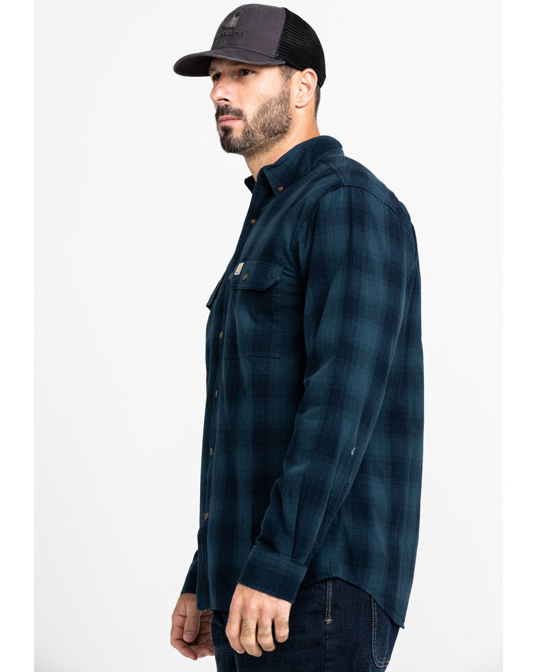 Carhartt Men's Navy Fort Plaid Button Long Sleeve Work Shirt - Tall , Navy, hi-res