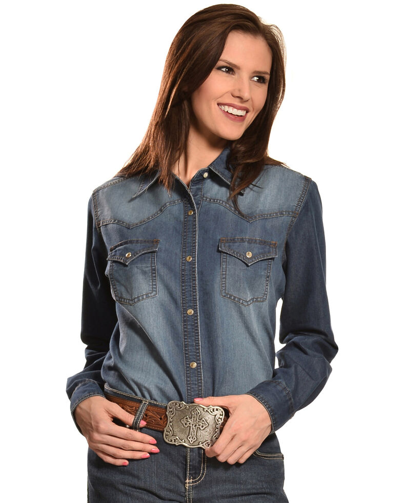 Wrangler Women's Premium Long Sleeve Denim Shirt, , hi-res