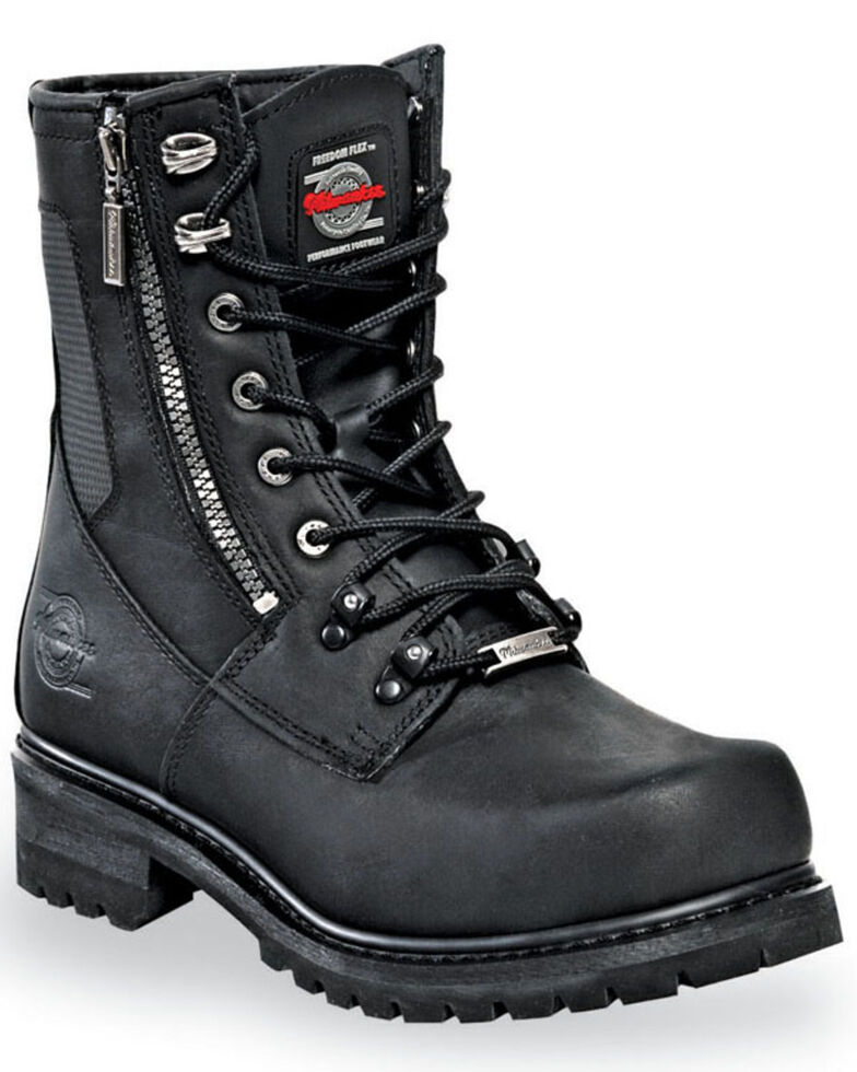 Milwaukee Motorcycle Clothing Co. Men's Trooper Moto Boots - Round Toe, Black, hi-res