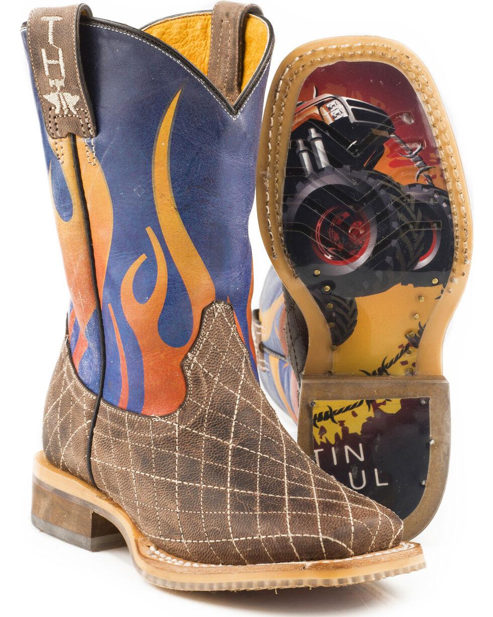 Tin Haul Boys' Blaze Bigfoot Sole Cowboy Boots - Square Toe, Brown, hi-res