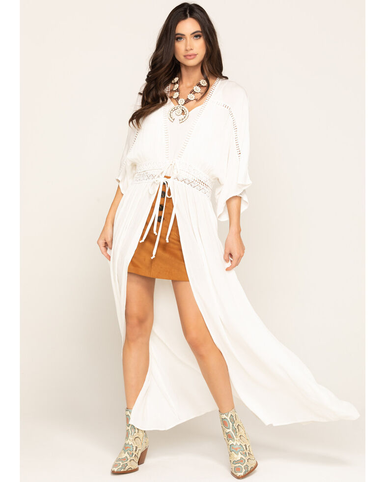 Band of Gypsies Women's Ivory Tie Front Duster, Ivory, hi-res