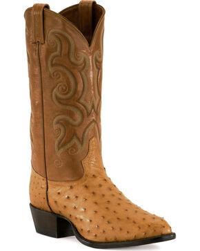 Tony Lama Men's Full Quill Ostrich Exotic Western Boots, Natural, hi-res