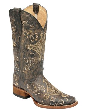 Circle G Women's Diamond Embroidered Western Boots, Black, hi-res