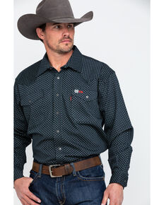 Cinch Men's FR Geo Print Long Sleeve Work Shirt , Black, hi-res