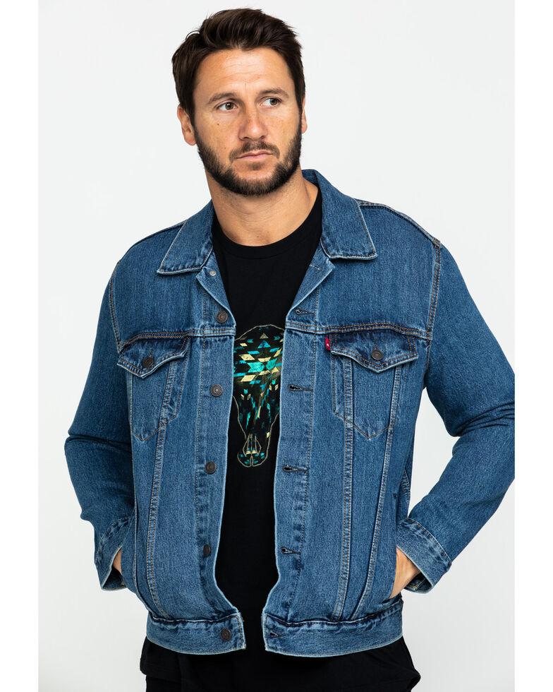Levi's Men's Medium Stonewash Denim Trucker Jacket , Indigo, hi-res