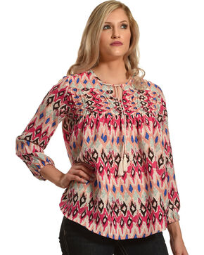New Direction Sport Women's Pink Southwestern Print Top , Multi, hi-res