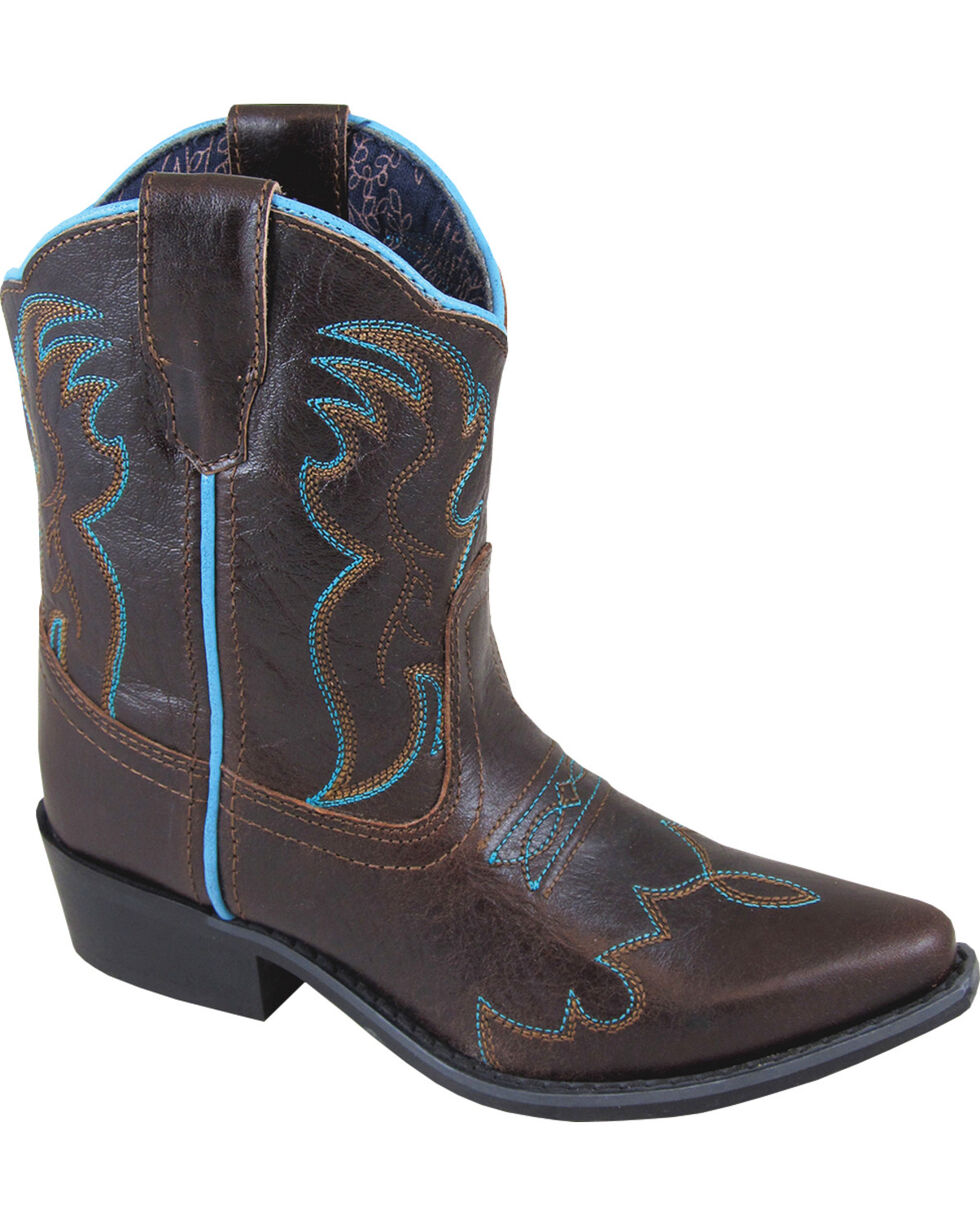Smoky Mountain Girls' Juniper Western Boots - Snip Toe, Dark Brown, hi-res