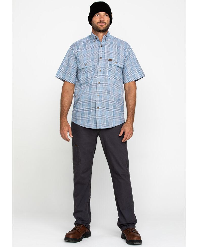 Wrangler Riggs Men's Navy Plaid Short Sleeve Work Shirt - Big , Navy, hi-res