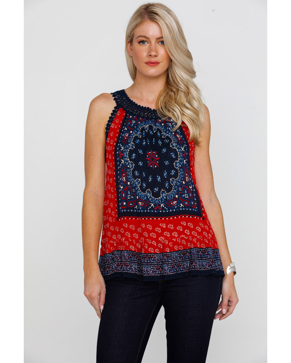 Bita Women's Print Medallion Sleeveless Top , Red, hi-res