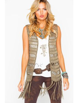 Rock & Roll Cowgirl Women's Crochet Fringe Bottom Vest , Olive, hi-res