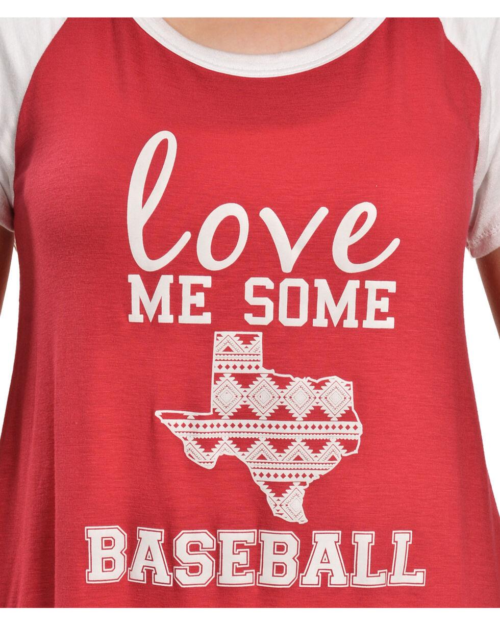 Katydid Women's Love Me Some Baseball Tee, Red, hi-res