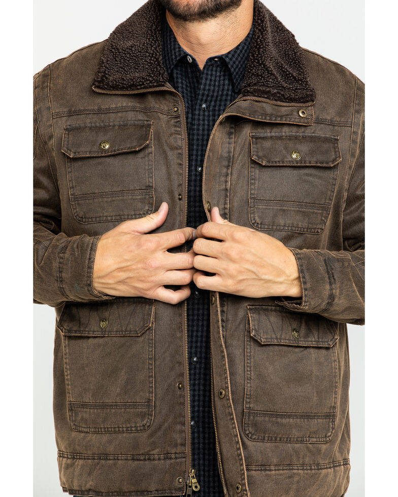 Cripple Creek Men's Enzyme Washed Storm Flap Sherpa Jacket , Chocolate, hi-res