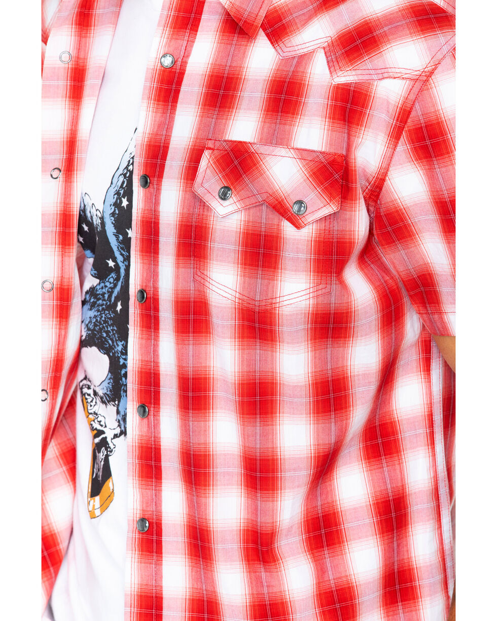 Moonshine Spirit Men's Tequila Sunrise Short Sleeve Western Shirt, Red, hi-res