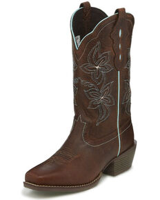 Justin Women's Sun Buffalo Western Boots - Square Toe, Brown, hi-res