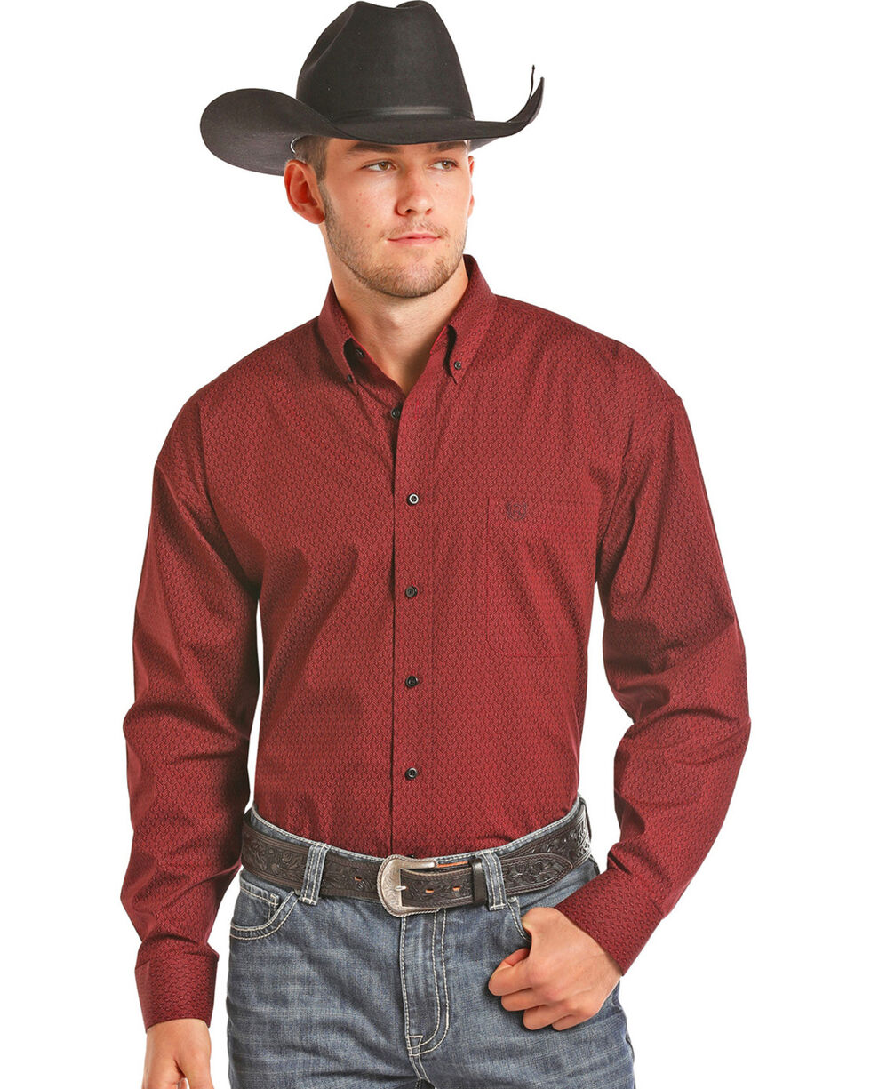 Panhandle Men's Burgundy Peached Poplin Shirt , Burgundy, hi-res