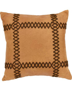 HiEnd Accents Faux Leather Pillow With Lacing Details , Brown, hi-res