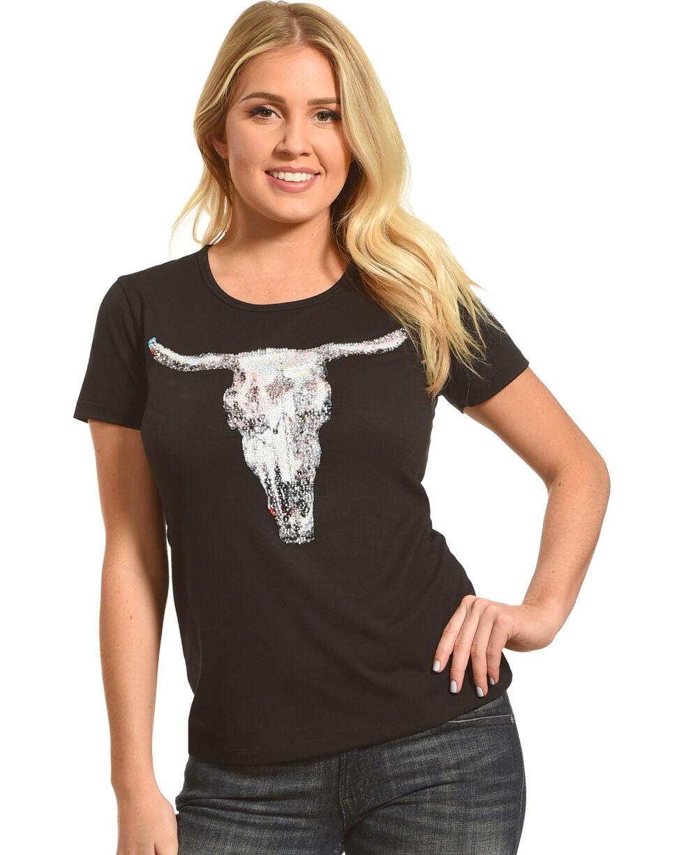 Angel Premium Women's Two-Way Sequin Steer Skull Tee, Black, hi-res