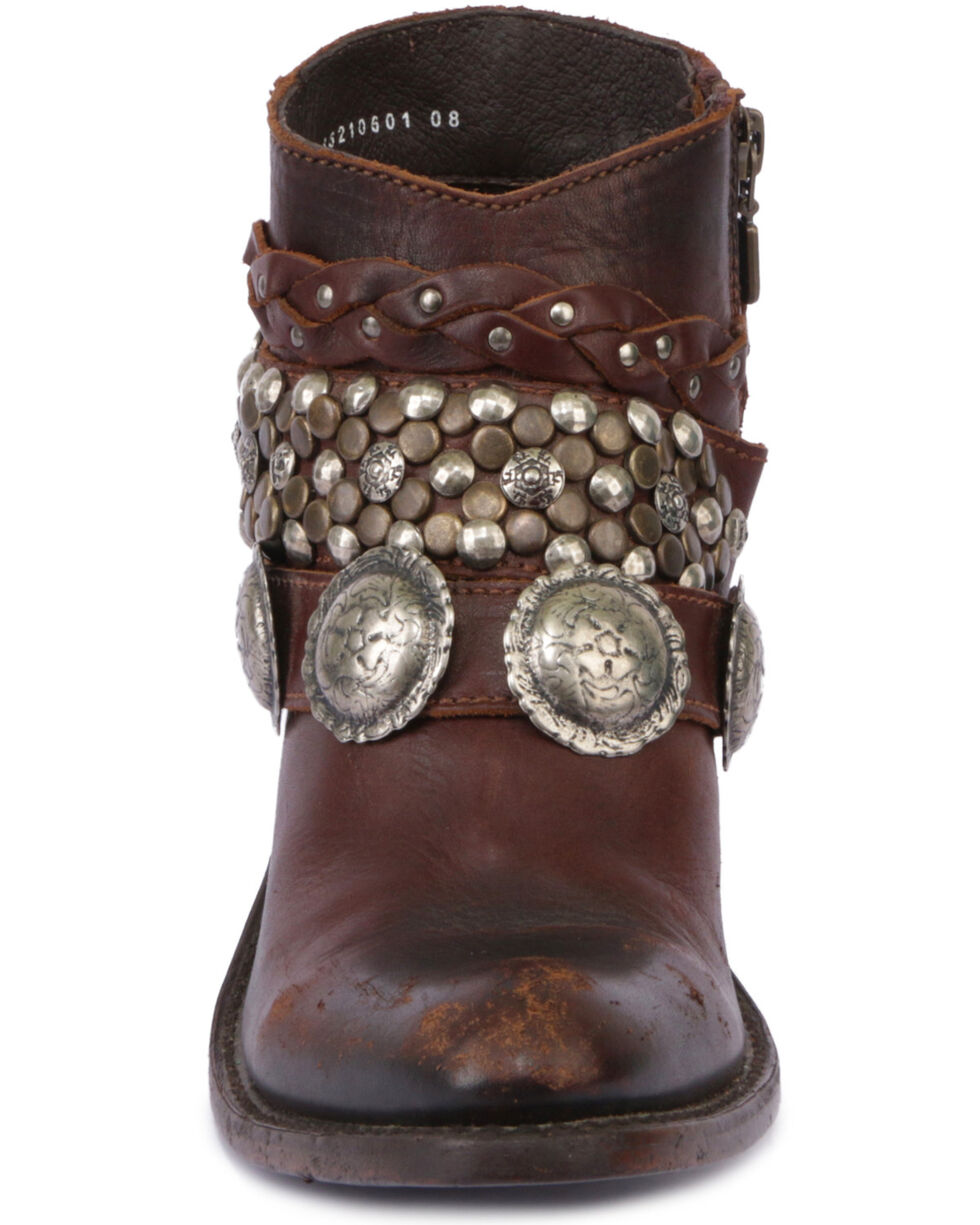 Liberty Black Women's Toscano T-Moro Concho Harness Short Boots - Round Toe , Brown, hi-res