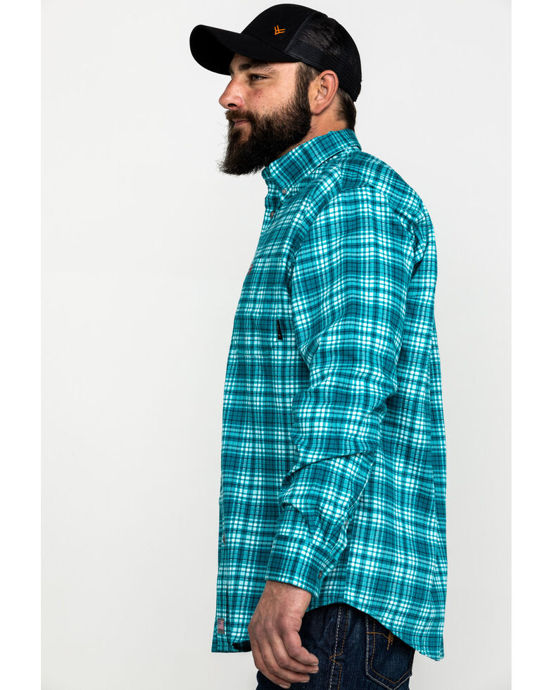 Ariat Men's FR Monterrey Check Plaid Long Sleeve Work Shirt - Tall , Teal, hi-res