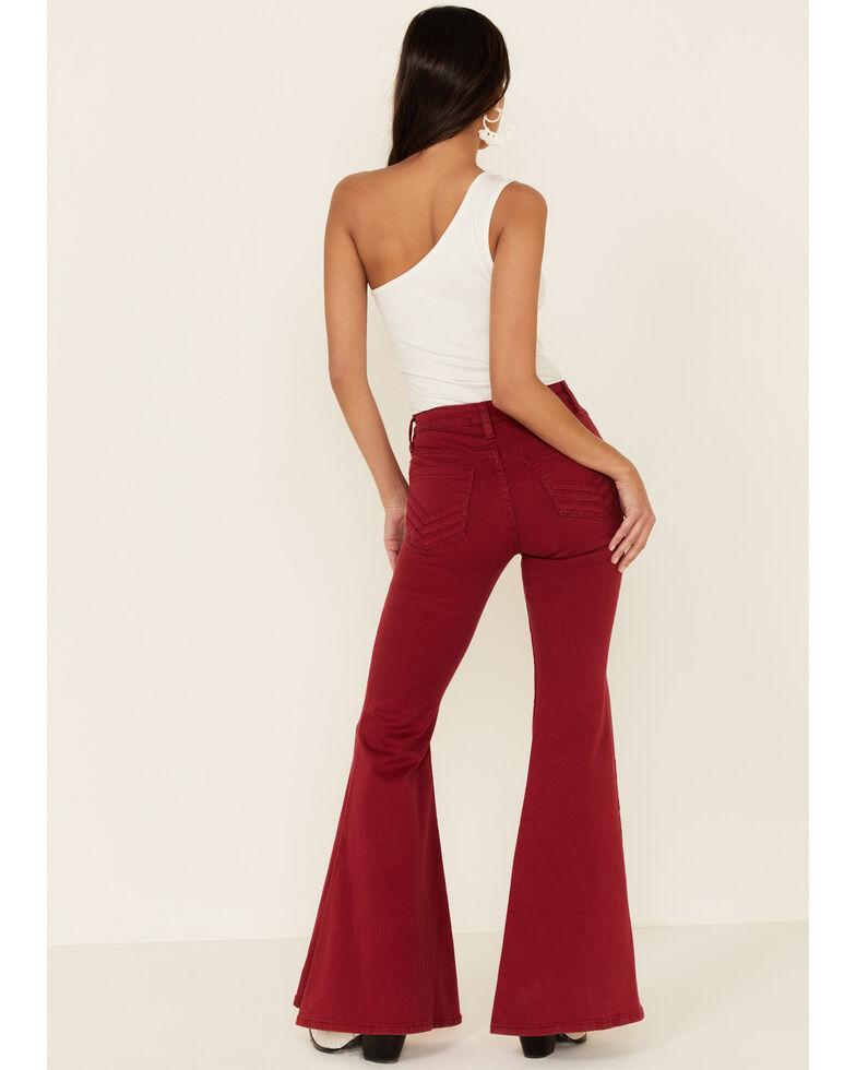 Shyanne Women's Red Seamed Pocket Flare Jeans, Red, hi-res
