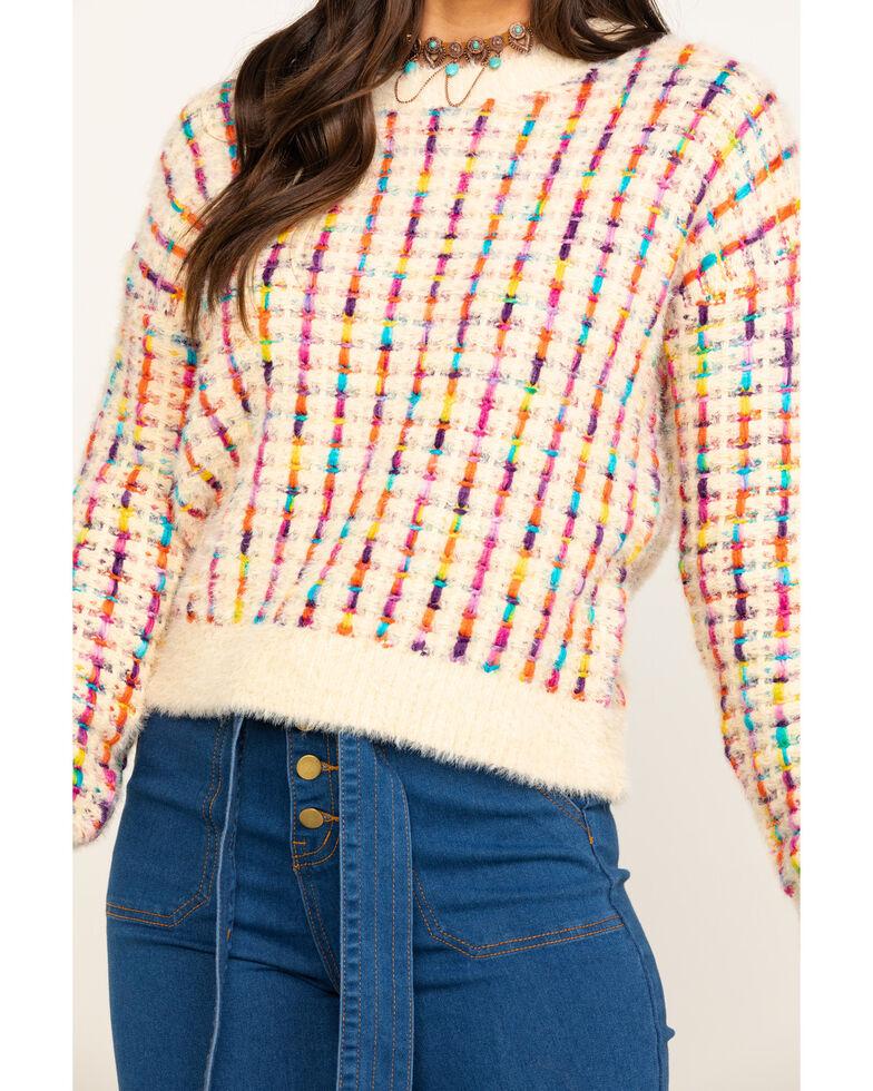 En Creme Women's Multi-Color Eyelash Sweater, Cream, hi-res