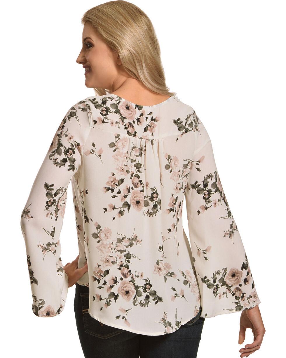Sage The Label Women's White Floral Lace-Up Blouse , White, hi-res