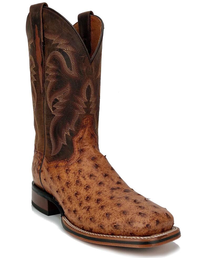 Dan Post Men's Brown Ostrich Western Boots - Wide Square Toe, Brown, hi-res